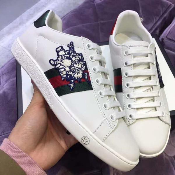 Yeni Markalı Kadınlar Güzel Üç Küçük Domuz Ace Sneaker Tasarımcı Erkekler Beyaz Deri Kauçuk Taban Rahat Ayakkabılar