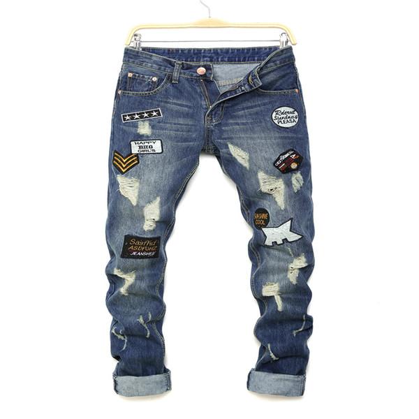 Halloween Denim Biker Jeans Männer dünne dünne elastische Jeans Hip-Hop-Washed Druck gepatchten Bettler männlich Jeans Größe 28-36