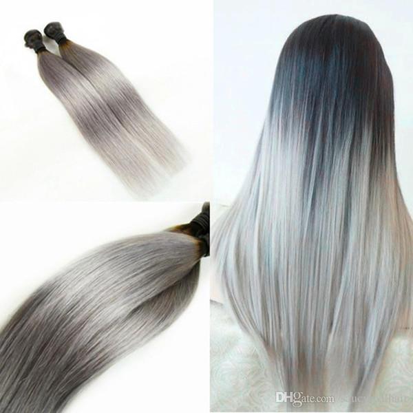 Elibess Marca-Grau 9A Cabelo Bundle com Cinza Prata cor Brasileiro Virgem Do Cabelo onda reta de seda pacote de cabelo humano 4 pcs por lote