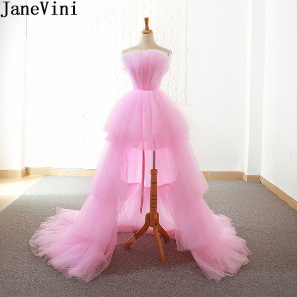 JaneVini High Low Pink Prom Dresses Tiered Tulle Short Front Long Back Abito da sera senza spalline Abito da sera formale Bruidsmeisjes Jurk Donna