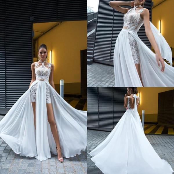 Crystal Design 2019 Brautkleider Eine Linie Spitze Applizierte High Neck Side Split Brautkleider Boho Chiffon Brautkleid vestido de novia