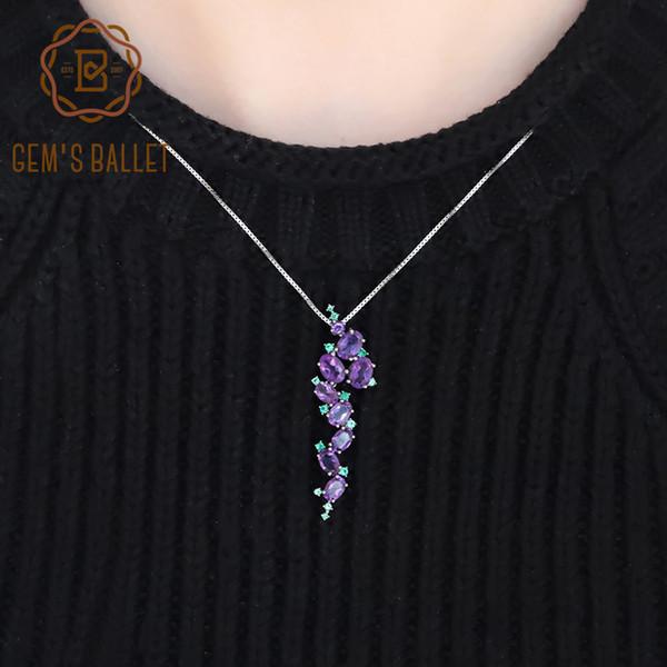 GEM'S BALLET 925 Sterling Sliver Vintage Pendants Necklace For Women 4.89Ct Natural Amethyst Purple Oval Gemstone Fine Jewelry