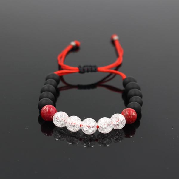 Ornamenti del braccialetto del tessuto manuale Nero opaco Rosso Imperatore Bianco Popcorn Bead nappe braccialetto uomini e donne perline