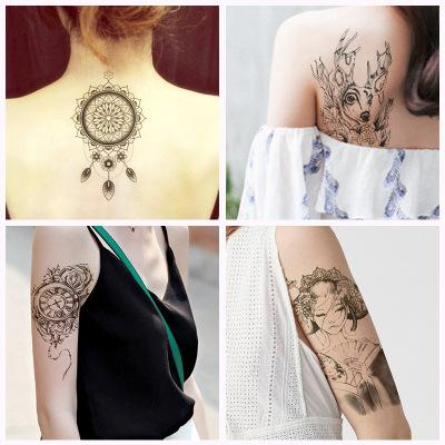 Flower Arm Tattoo Paste Men And Women Waterproof Half Arm Chest Thigh Simulation Tattoo Large Figure Color Sexy Tattoo Stickers Fashion Icon Amy
