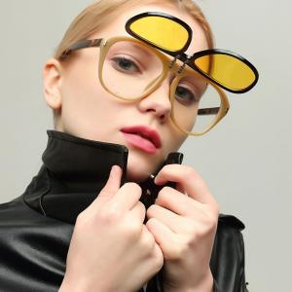 Double Layer Flip Cover Sun Glasses For Men And Women Beach Sunglasses PC Plain Glass Spectacles Creative LJJV309