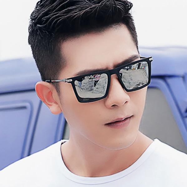 2019 Nova Moda Coreano Quadrado Óculos De Sol Dos Homens Retro Design Da Marca Óculos de Metal Decorar Moldura Preta de Prata Espelho Navio Livre