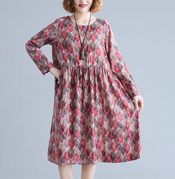 2019 neue Marken-Frauen-Herbst-Folk-Stil Retro-Flora druckt großes Kleid mit langen Ärmeln Baumwolle Leinen