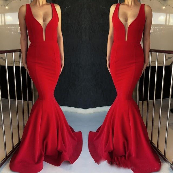 Gorgeous Red Mermaid Evening Dresses 2019 Long Prom Gowns On Sale Glamorous False Perspective Deep V Sweep Train Pageant Party Dresses