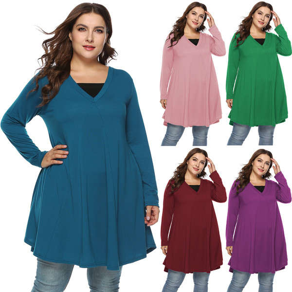 Free shipping Factory direct sale pure color big large size XL to XXXL V-neck long sleeves irregular false fake two pieces dress