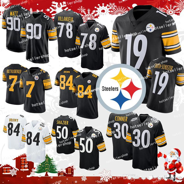 sale retailer 0b7e6 fa473 2019 Pittsburgh Steelers Jersey James Conner 30 84 Antonio Brown 19 Juju  Smith Schuster 90 T.J. Watt 50 Ryan Shazier 7 Ben Roethlisbergertop Sale  From ...