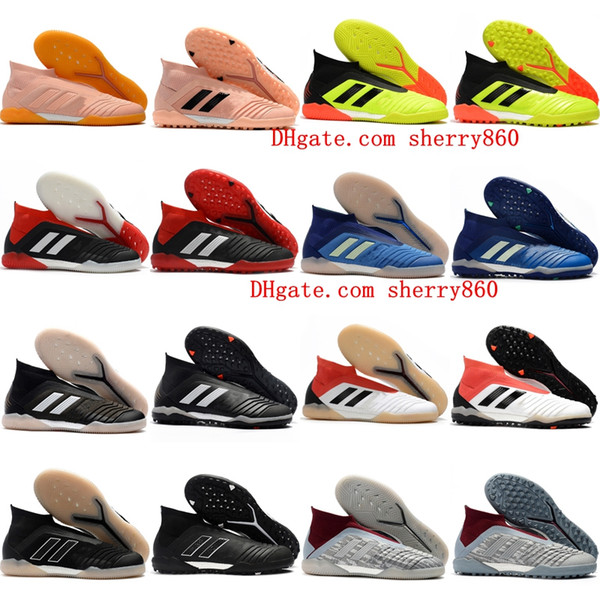 2018 cheap mens leather soccer shoes Predator Tango accelerator 18 IN TF turf football boots indoor soccer cleats chuteiras Pogba Black .