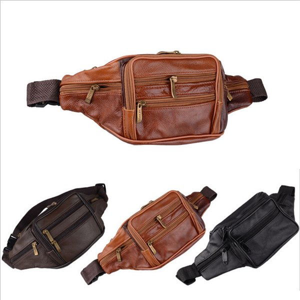 Men Leather Waist Bag Fanny Pack Hiking Cycling Waist Hip Bum Bag Sling Backpack Fanny Pack Travel Money Running Cycling