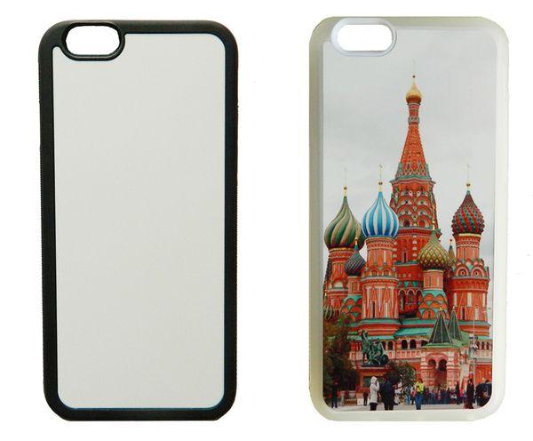 Für iPhone 11 Pro Max 4S 5S SE 6 6S 7 8plus 2d Rubber TPU Sublimationsdruck Fall Abdeckung + Aluminiumplatte 5 Stück / Los