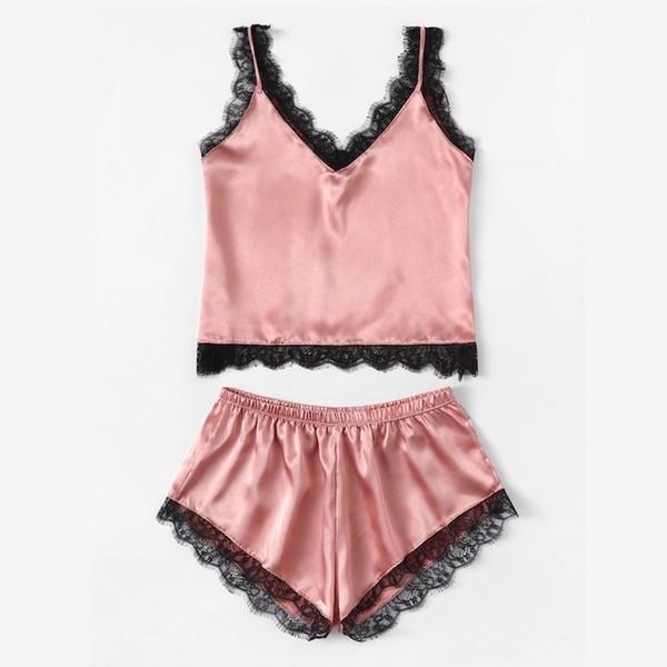 Summer Sleepwear Sexy Satin Pajamas Set Lace Cami Tops And Shorts Sleeveless Nightwear For WomenMX190822