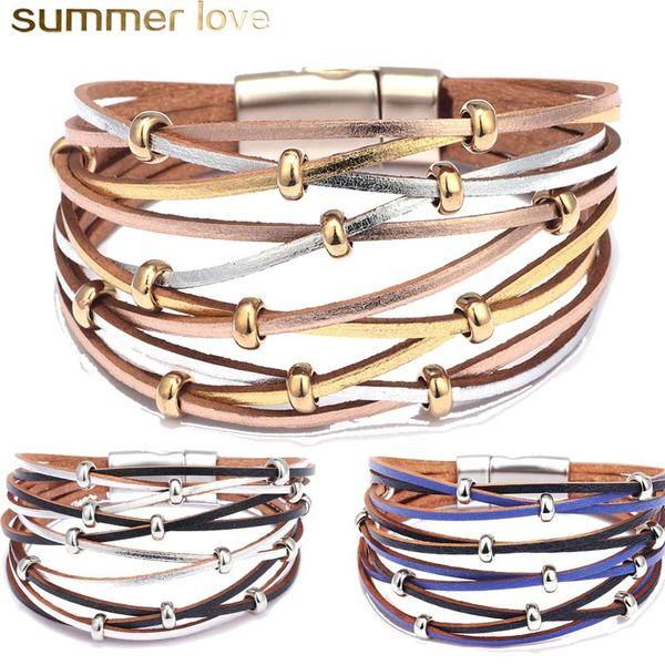 Handmade Personalized Beads Leather Bracelets For Women Men Fashion Multiple Layers Charm Gold Silver Wrap Bracelet Bangle Wholesale Jewelry