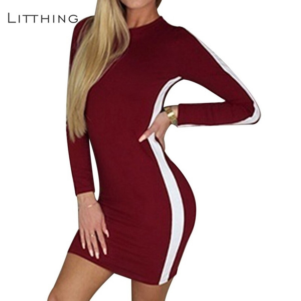 97467fda241 LITTHING 2018 Новый осень свободного покроя тонкий полосатый o-образным  вырезом платье женщины мини-
