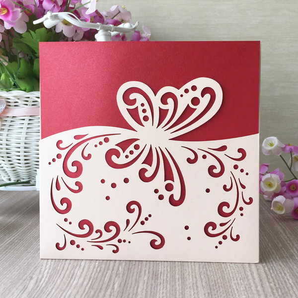 Hollow Laser Cut Pearl Paper Wedding Invitations Cards Envelope Design With Butterfly Sculpture Marriage Sweeties Card Supplies Online Wedding