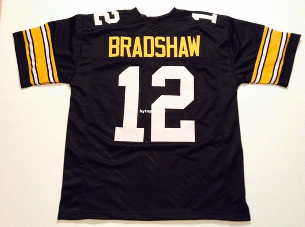 Cheap Retro custom Sewn Stitched #12 Terry Bradshaw Black MITCHELL & NESS Jersey Men's Football Jerseys College NCAA