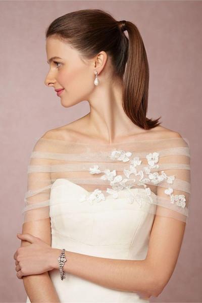 Bridal Bolero Jacket Wraps New Cheap Simple White Ivory Off Shoulder Lace Appliques Tulle Illusion Button Back Formal Bridal Wraps Plus Size