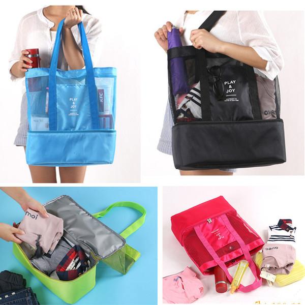Multifunktions Isolierte Kühltasche Doppelschicht Picknick Handtasche Im Freien Reise Camping Geschirr Make-Up Aufbewahrungsbeutel Mesh Tote A41505