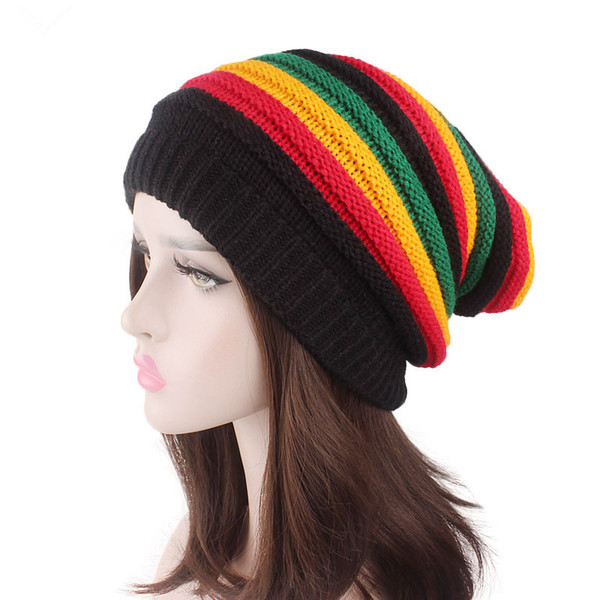Jamaica Reggae Gorro Rasta Style Cappello Hip Pop Women Winter Striped Hats Female rainbow Hats Fall Fashion Women's Knit Cap