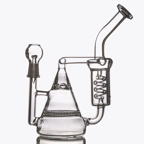Cheap Glass Bong Two Function Honeycomb&Tornado Percolator Spring Pipes Recycler Bubbler Oil Rigs Water Pipes Smoking hookahs in strock