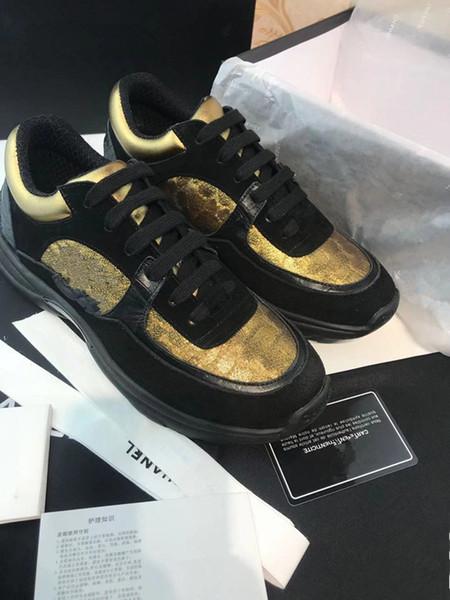 Piattaforma di lusso Designer Shoes riflettente Triple Black Velvet Bianco d'oro delle donne degli uomini casuali xy2019112003 Dress Sneakers Fashion Party Leat