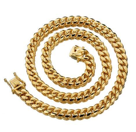 10mm width Men Hip Hop 18K Gold Stainless Steel Miami Curb Link Chain Necklace