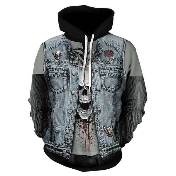 2018 new men's street funny sweatshirt fashion gothic hip hop hooded 3D HD print casual hooded pullover 3d skull hip hop hoodie