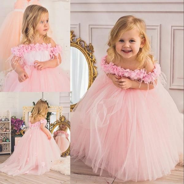 Princesse Rose Fleur plume longue robe de demoiselle robe de bal Sheer cou petite fille célébration d'anniversaire robe de soirée avec cristal Sash