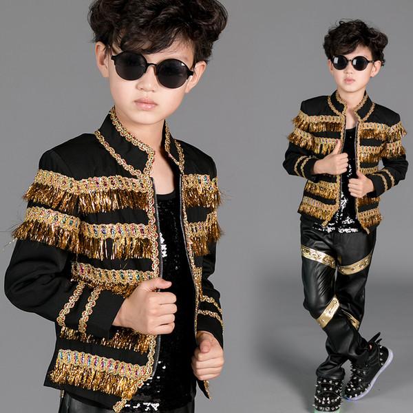 Hip Hop Trajes de baile Niños Escudo de borla de oro Negro Pantalones Niños Jazz Escenario Ropa de baile Niños Street Dancewear DN2969