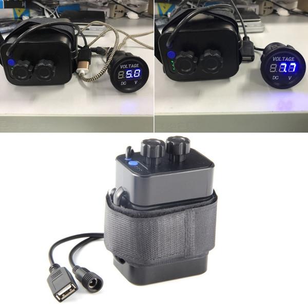 À prova d 'água 18650 bicicleta luz bateria case usb 5.v + dc 8.4 v saída banco de potência da bateria externa para o telefone móvel # 106691