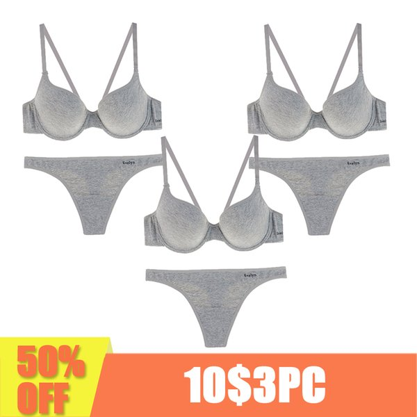 3 pieces Cotton women underwear gray intimates lingerie push up bralette brassiere Top quality bra and panty set Comfortable bra