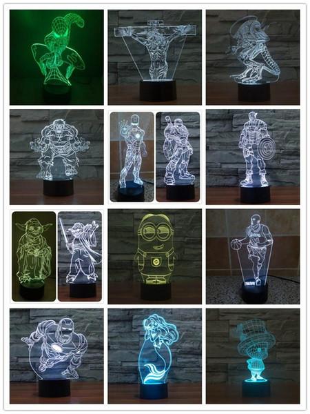 christmas new rgb lighting led lamp holder for 3d slideshow 4mm acrylic panel aa battery or dc 5v usb 3d night light