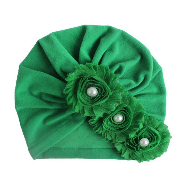 cappello verde delle donne tre floreale moda perla del fiore di Sun del bambino del cappello Neonato Cap fetale protezione del bacino caldo Ragazza Ragazzi svegli chapeau