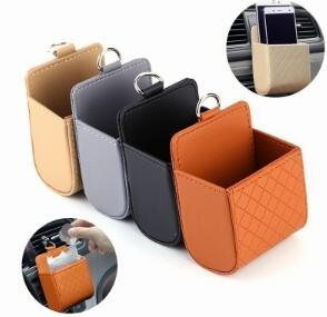 DHL Universal Car Mobile Phone Storage Bag PU Leather Car Auto Air Outlet Coin Bag Case Organizer Automobile Hanging Box Supplies