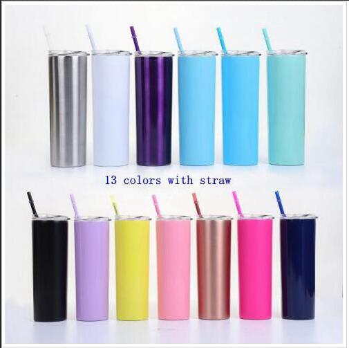 top popular Stainless Steel Straight Water Bottle Insulated Tumbler Thermos Cups Vacuum Beer Coffee Mug Lids Straws 20Oz Double Layer Drinkware C517 2021