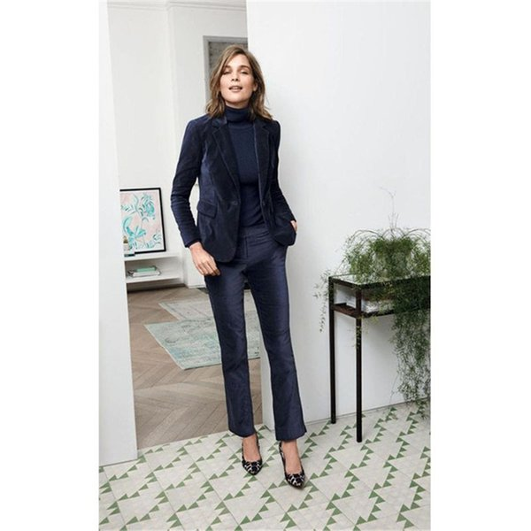 NEW 2019 Navy Velvet 2 piece set women business suits ladies elegant pant suits female office uniform slim women trouser suit