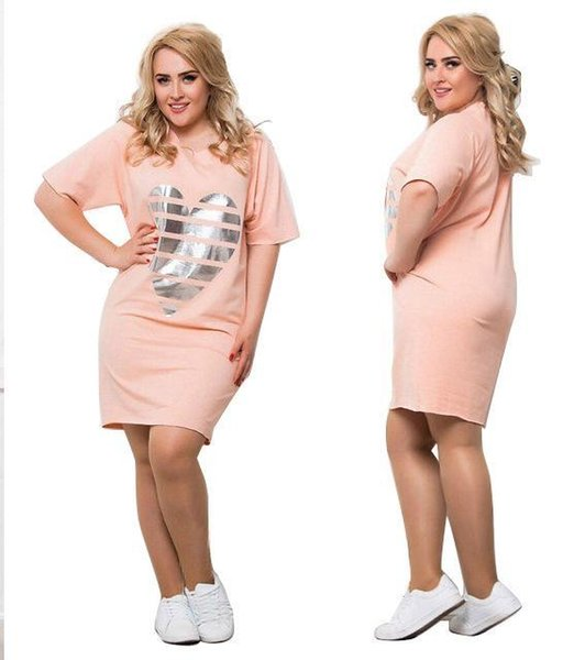 5XL 6XL Dress Women Clothes Casual Loose Summer LOVE Tshirt Dresses Short Sleeved Plus Size Dress