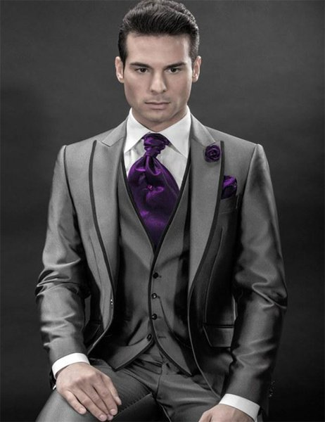 Charcoal silver grey tuxedos 2019 men's groom suits for wedding peak lapel groom tuxedos wedding suits for men 3 Pieces