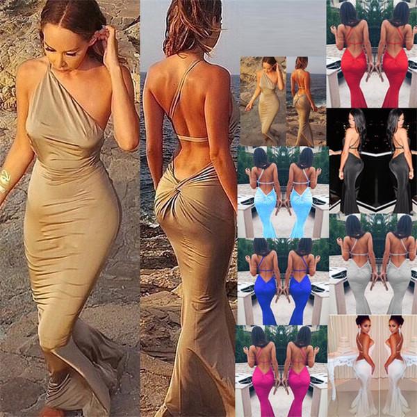 Halter Robe Sans Bretelles Partie Glad Rags Femmes Robes Complètes Mince Sirène Enveloppé Hanche Sexy Soirée Prom Plage 32gpf1