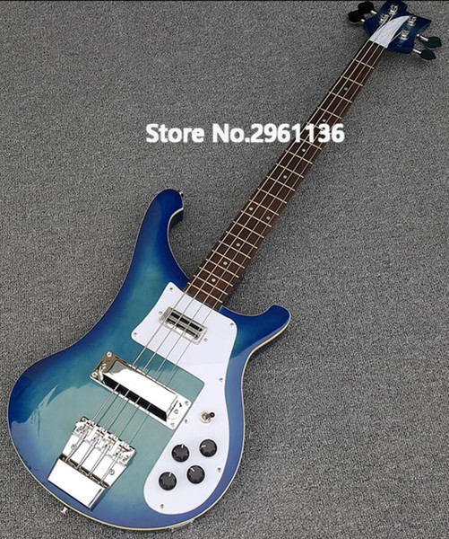 Personalizzato RIC 4 stringhe blu Burst 4003 Basso chitarra elettrica Chrome Hardware, Triangolo MOP Tastiera Inlay, più venduti