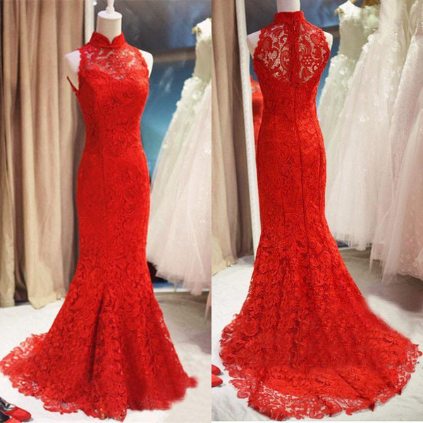 Elegant Red Mermaid Prom Dresses Full Lace New 2019 China Cheongsam Style High Neck Sweep Train Long Formal Evening Gowns Sleeveless Cheap