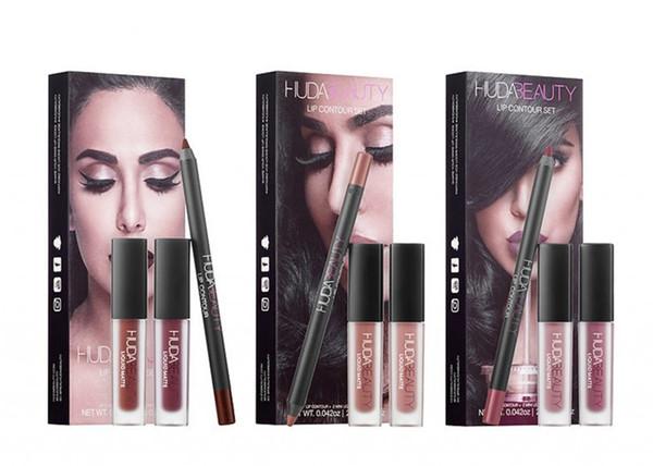 Nuevo maquillaje HUDA BEAUTY Lip Contour Set Lip Contour + Liquid Mattes cosmético Lápiz labial líquido Lápiz 3 colores con DHL libre impermeable.