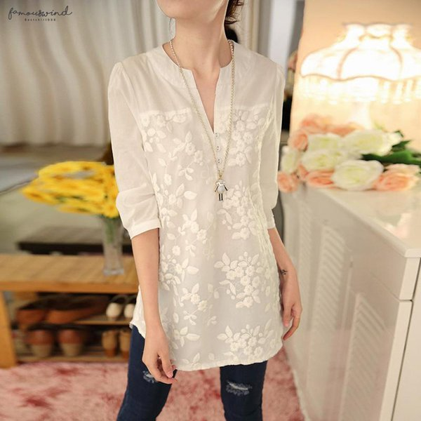 New V-Neck Organza Embroidered Shirt White Blouse Top Plus Size Summer Lace Korean Blouse Floral Flower Women Blouse 566F 25