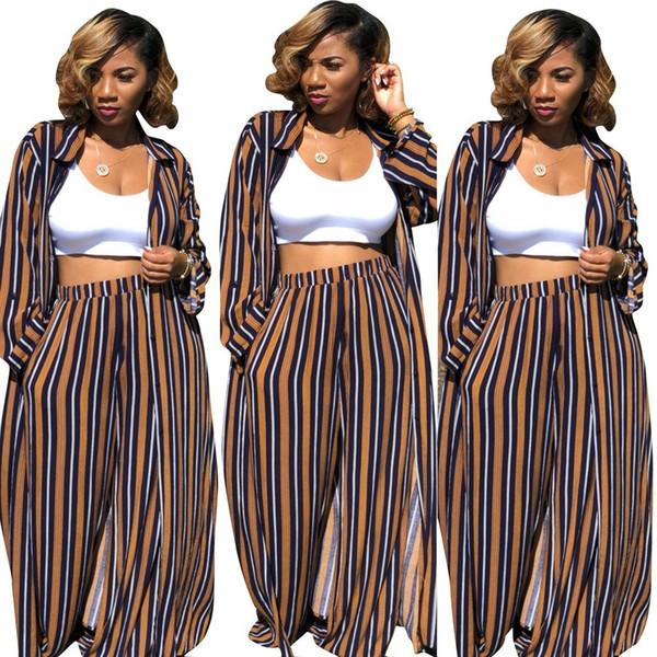 Длинный полосатый рукав 2 шт набор женщин брюки и топ отложной воротник широкие брюки Женские брюки набор женщин соответствующий набор