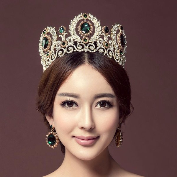 2017 New Gorgeous Big Pearl Cubic Zirconia Bridal Tiara Crown With Earrings Crystal Wedding Hair Accessories Jewelry Suits C18112001