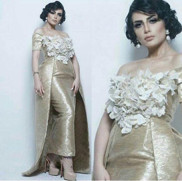 Mantel Schulterfrei Ballkleider 2019 Neue, kurze Ärmel und 3D-Blumen über dem Rock verziert vestidos de fiesta