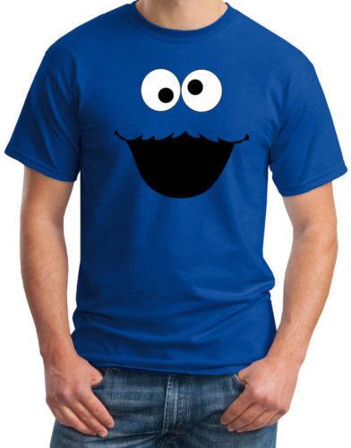 Cookie Monster Face Смешные мужские синий костюм партии Ретро весело футболка