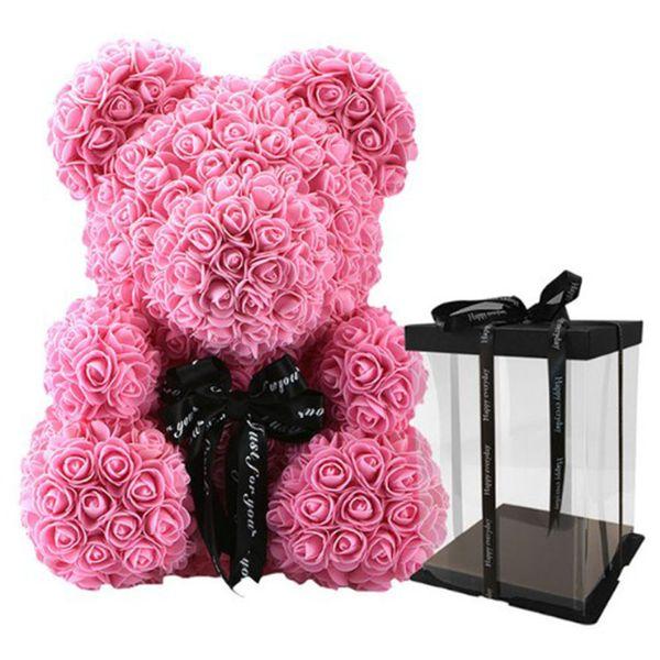 40cm rose avec boîte